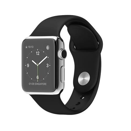 Apple Watch 38mmステンレススチールケースとブラックスポーツバンド MJ2Y2J/A