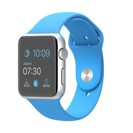 Apple Watch Sport 42mmシルバーアルミニウムケースとブルースポーツバンド MJ3Q2J/A