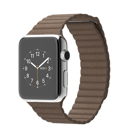 Apple Watch 42mmステンレススチールケースとライトブラウンレザーループ MJ402J/A【M】 MJ422J/A【L】