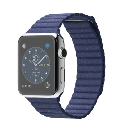 Apple Watch 42mmステンレススチールケースとブライトブルーレザーループ MJ452J/A【M】 MJ462J/A【L】